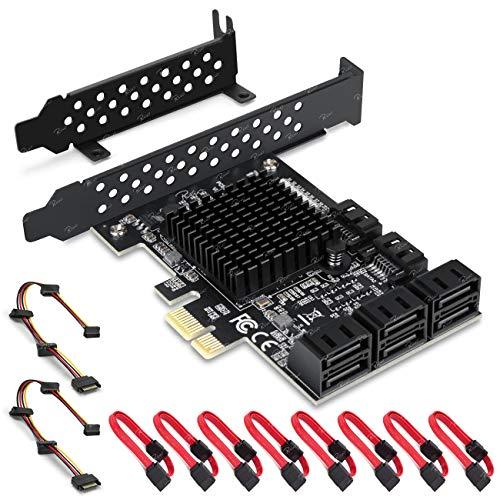 Tarjeta Rivo PCIe SATA, 8 Puertos Con 8 Cables SATA, tarjeta de expansión de Controlador SATA Con soporte de perfil Bajo, Marvell 9215 Non-Raid, arranque Como Disco de sistema