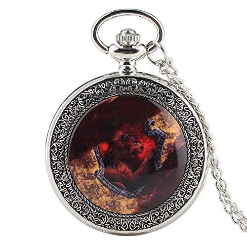 XTQDM Reloj de Bolsillo,Reloj de Bolsillo de Cuarzo Grande Plateado con Cubierta de Fuego, Colgante analógico, Collar, Cadena de Reloj, Regalos, Reloj de Bolsillo de ratán Floral, Plateado