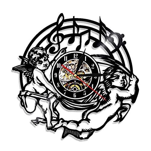 showyow Reloj de Pared de Vinilo Reloj de Disco Upcycling Nota Musical 3D Reloj de diseño de Angelito Decoración de Pared Decoración de habitación Familiar Vintage Regalo artístico, diámetro 30 cm