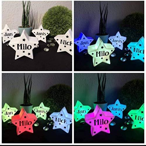 StoffJuLe LEd Stern mit Farbwechsel und Name personalisiert, Schlummerlicht, Nachtlicht, Einschlafhilfe