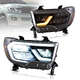VLAND Full LED Reflection bowl Headlights Compatible for [ TOYOTATUNDRA 07-13 / SEQUOIA 08-17& 18-UP ] Front Lamps Assembly with Sequential Turn Signal,, YAX-TY-6004, Driver& Passenger Sides