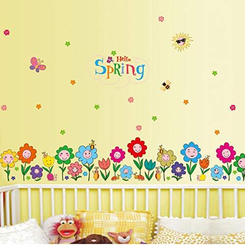 XCWQ Muursticker, plint, afneembaar, lentebloemen, waterdicht, decoratie voor thuis, kinderen, plinten, woonkamer, slaapkamer, schilderkunst sticker