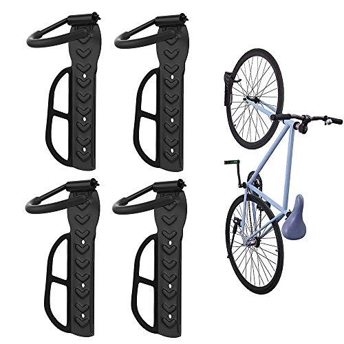 Nuovoware Bike Hanger Rack 4 Pack, Heavy Duty Garage Wall Mount Bike Vertical Hook Storage System, Scratch Resistant Anti-Slip Rubber Cover Bicycle Hook, Holds up to 66 lb, Easy Hang & Detach, Black