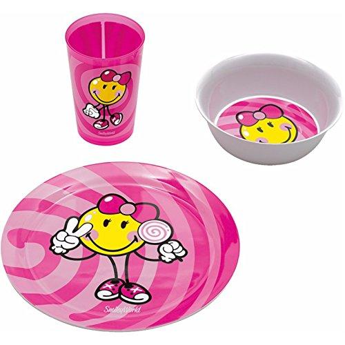 Kid Zakdesigns 6707-0391 Vajilla Infantil de melamina, diseño de Smiley, Color Rosa 45 x 35 x 25 cm, Juego de 3
