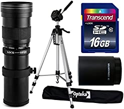 Opteka 420-1600mm f/8.3 HD Telephoto Zoom Lens Bundle Package includes 2X Teleconverter + 70