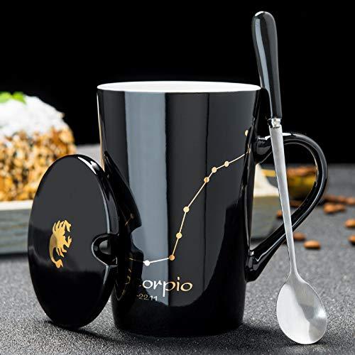 Cvxgdsfg 12 Constelaciones Creativas Tazas de Cerámica con Tapa de Cuchara Negro y Porcelana de Oro Leche del Zodiaco Taza de Café 420ML Agua Drinkware