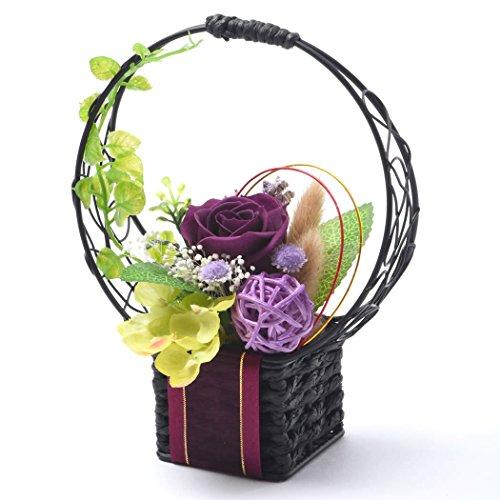 母の日のプレゼントバラおいもやどら焼き花とスイーツプリザーブドフラワーアレンジメント母の日ギフト(どら焼き付・紫)