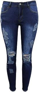 QMGLBG Talla S/Jeans Rasgados de Tiro bajo de Moda para Mujer Pantalones de Mezclilla Retro Pantalones de lápiz Rasgado Da...
