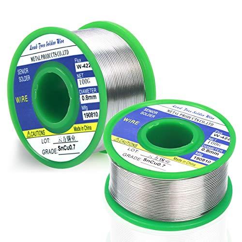 NATUCE 2PCS 0,8 mm Fil à Souder Sans Plomb 200g, Sn 99.3 Cu 0.7 Fil de Soudure avec Noyau de Colophanepour, Soudure Etain pour Soudure Électrique, la Soudure électrique et Bricolage