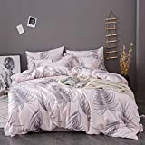 OSVINO Simple Style 100% Microfiber Botanical Pattern Bedding Quilt <span class='highlight'>Comforter</span> <span class='highlight'>Duvet</span> Cover Set with Pillow Shams, Pink, Double