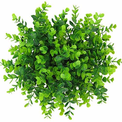 XONOR - Confezione da 12 piante artificiali di eucalipto in plastica verde, grandi foglie di soldi per casa, tavolo, ufficio, decorazione esterna
