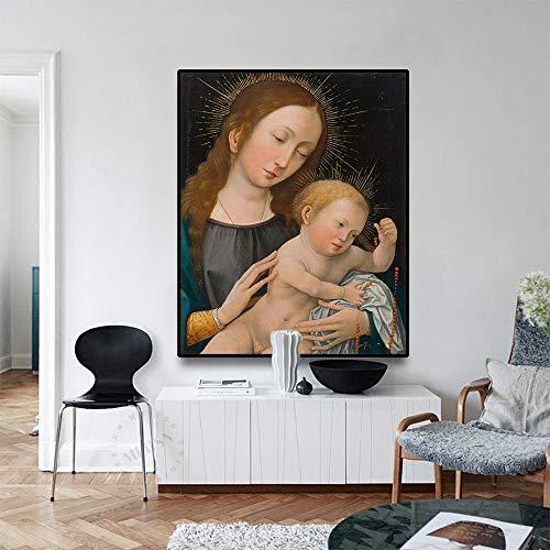 Vintage Maagd Maria poster canvas met vintage kalligrafie katholieke posters en prints kerst familie decoratie muur fotolijst frameloze schilderij 40x32cm