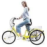 SMIDOW Adult Tricycles Three Wheel Cruiser Bike, 7 Speed 24in Wheel, Adjustable Seat/Handlebar