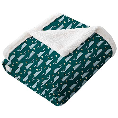 LANQIAO Whale Queen Size Sofa Cashmere Blanket Sleeping Kings of The Oceans in The Sky Among The Moon and Stars Nature Flannel Microfiber Blanket Teal Baby Blue Beige60'x80'