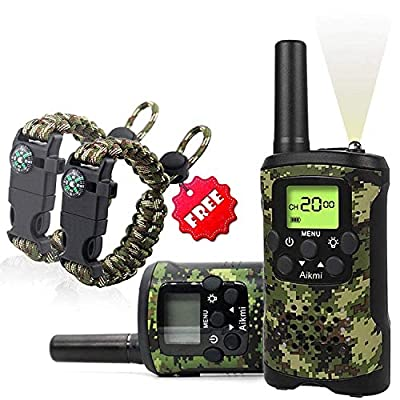 Aikmi KidsWalkieTalkiesSet - Walkie Talkies for Kids 2 Way Radio Boy Birthday Gift for 4-8 Year Old Boys and Girls Fit Games, Adventure and Camping. Strap and Paracord Bracelet Included. (Camo)