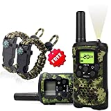 Kids Walkie Talkies Set - Walkie Talkies for Kids 2 Way Radio Boy Birthday Gift for 4-8 Year Old Boys and Girls Fit Games, Adventure and Camping. Strap and Paracord Bracelet Included. (Camo)