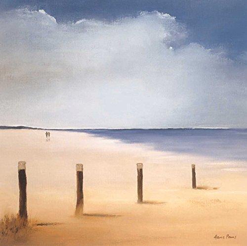 Feeling at home Kunstdruck-auf-Papier-cm_54_X_54-Paus-Hans-Küsten-Bild-Poster-blau-Strand-Sand-Wasser-Pastell