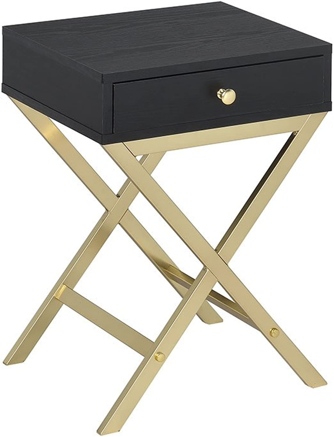 Acme Furniture Acme 82296 Coleen Side Table, Black & Brass