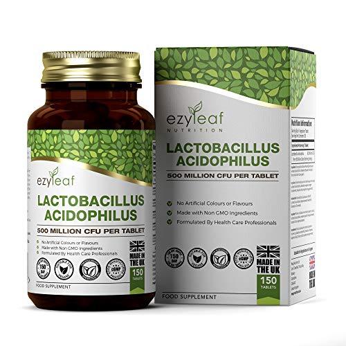 Ezyleaf Lactobacillus Acidophilus Gasseri Probiotico Pastillas | 150 Tabletas Veganas Probióticos Intestinales y Enzimas Digestivas | Suplemento de Probióticos para Colon Irritable y Digestión
