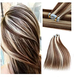 Rinboool 14Inch 40g Highlighted Tape In Hair Extensions Real Natural Remy Human Hair Seamless Balayage Two Tone Piano Color Chestnut Brown To Platinum Blonde(14'', P6/60)