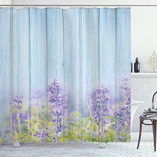 Ambesonne Floral Shower Curtain, Flourishing Lavender Flowers Florets Field Blooms Rural on Wooden Nature Picture, Cloth Fabric Bathroom Decor Set with Hooks, 70' Long, Lilac Blue
