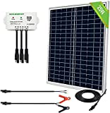 ECO-WORTHY 25 Watts 12V Off Grid Solar Panel SAE Connector Kit: Waterproof 25W Solar Panel + SAE Connection Cable +10A Charge Controller for Light