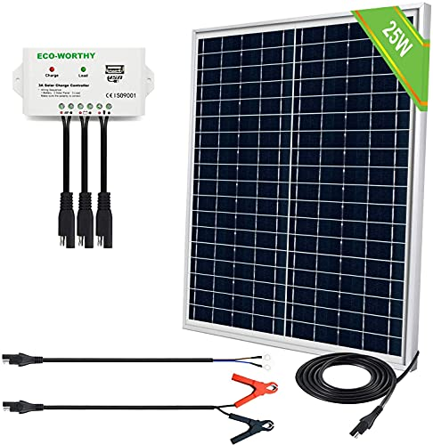 ECO-WORTHY 25 Watts 12V Off Grid Solar Panel SAE Connector Kit: Waterproof 25W Solar Panel + SAE...