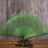 QIANWEIXI Abanico Plegable De Mano Clásico Vintage Mujer China Verde Ahuecado Ventiladores...