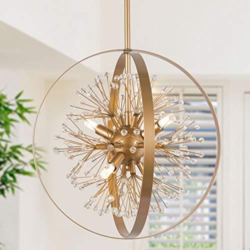 KSANA Modern Gold Globe Crystal 4-Light Orb Chandelier Globe Pendant Ceiling Hanging Light Fixture