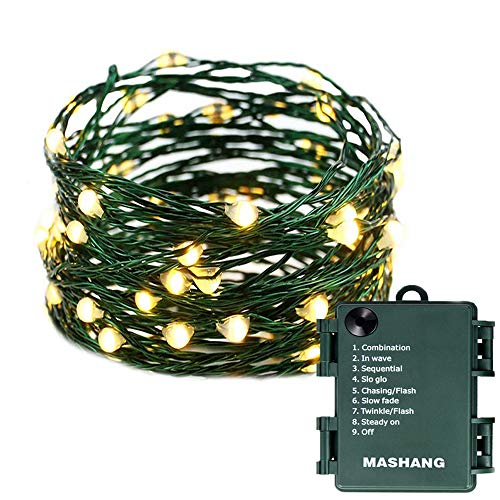 Christmas Lights Battery String Lights - MASHANG 33FT 100 Micro LEDs Starry Lights Fairy Lights Firefly Lights with Dark Green Copper Wire for Christmas Tree, Wreath, DIY, Wedding, Holiday(Warm White)