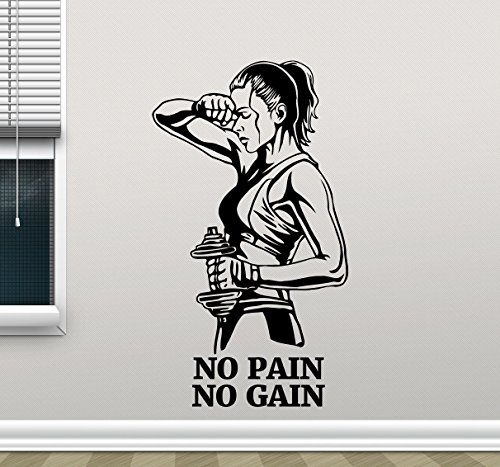 No Pain No Gain Fitness Wall Decal Healthy Lifestyle Gym Fitness Vinyl Sticker Girl with Dumbbell Fitness Motivation Sports Gym Wall Art Design Inspirational Gym Quote Decor Wall Mural 45fit