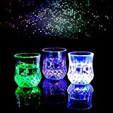Shot Glasses, Automatic Water Activated Colorful Flashing LED Light Up Flash Blinking Beer Wine Whisky Vodka Martini Drinkware Glow Glasses Mugs for Bar Club Christmas Party Supplies - 2 Pcs