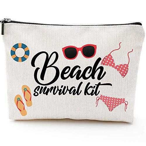Kit de supervivencia para la playa, bolsa de cosméticos para mujeres, adorables bolsas de maquillaje espaciosas para viajes, bolsa de aseo impermeable, accesorios organizador de regalos