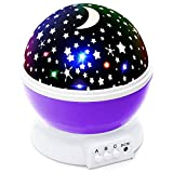 Lizber Baby Night Lighting Lamp Moon Star Projector 360 Degree Rotation - 4 LED Bulbs 9 Light Color Changing with USB Cable (Purple), Unique Gifts for Men Women Kids Best Baby Gift, Christmas Gift