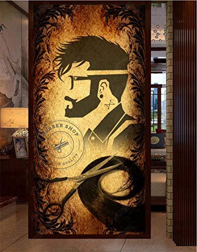 WFYY Vinilo Puerta Pegatinas Decorativas Pared Diseño De Peluquería Y Peluquería Pegatinas Decorativas Pared Fotomurales Vista 3D 77x200Cm
