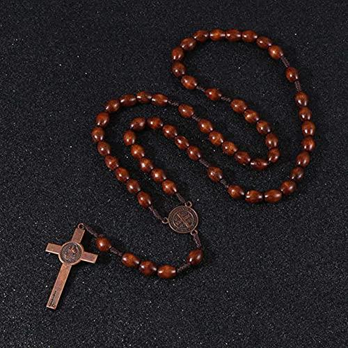 SONGK Cuentas de Madera de Cristo Jesús 8mm Cuentas de Rosario Colgante de Cruz Cadena de Cuerda Tejida Collarjoyería deoración ortodoxa Religiosa