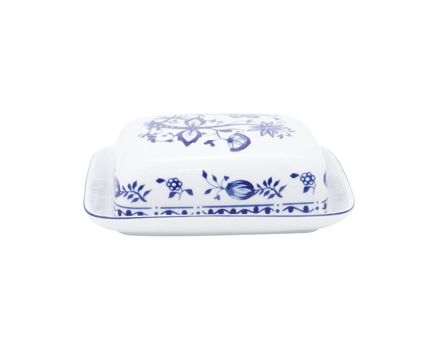 KAHLA Onion Pattern, Angular Butter Dish, Rossella Color, 1 Piece