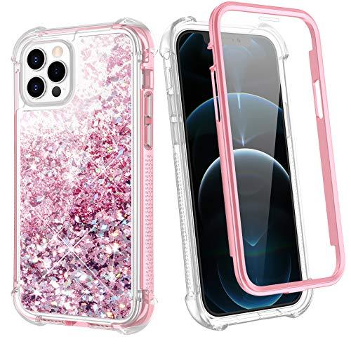 WLOOO Cover per iPhone 12 PRO Max, Glitter Liquido Bling Corpo Pieno Custodia Morbido TPU Silicone Protettivo Sparkly Brillantini Quicksand Ragazze Case con Pellicola Protettiva (Oro Rosa)