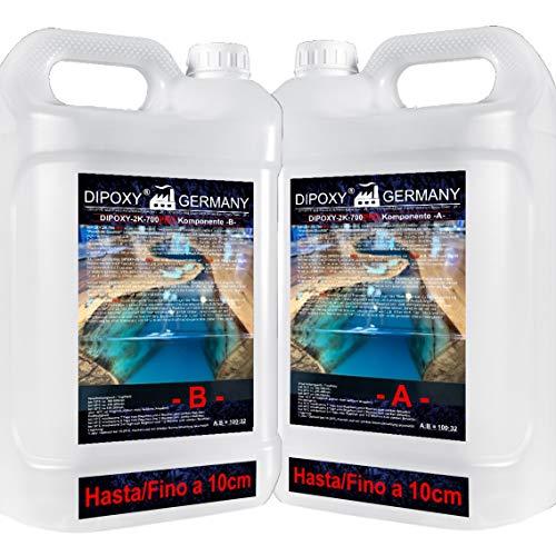 1,32 kg Resina epoxi 2C, hasta 10cm, DIPOXY-2K-700PRO, dos componentes Madera Cristal Transparente para laminar Resina de epoxy para mesa suelo Terra Acuario Formas Diseño UV Estable adhesivo