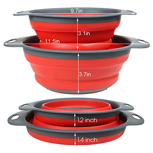 """2-Pack Collapsible Colanders Set, YHXK Food Grade Silicone Folding Kitchen Vegetable Strainers - 11.5"""" and 9.7"""" Size with Handle, BPA Free, Dishwasher-Safe for Draining Pasta, Veggies, Fruit (Red)"""