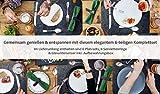 TULENO® Edles Tischset Filz mit Serviettenringe, Platzset abwischbar als Tischuntersetzer oder Tischunterlage, Platzdeckchen abwaschbar rutschfest, Platzsets abwaschbar Tischset abwaschbar ANTHRAZIT - 8