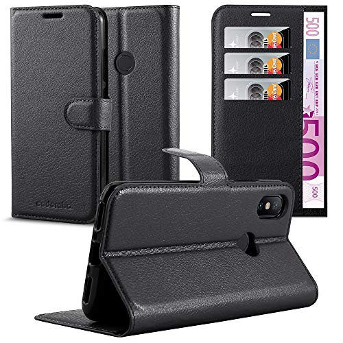 Cadorabo Funda Libro para Xiaomi Mi A2 / 6X en Negro Fantasma - Cubierta Proteccíon con Cierre Magnético, Tarjetero y Función de Suporte - Etui Case Cover Carcasa
