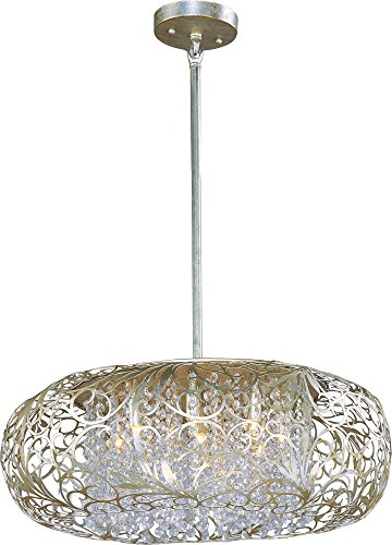 Maxim 24155BCGS Arabesque 9-Light Pendant, Golden Silver Finish, Beveled Crystal Glass, G9 Clear Xenon Xenon Bulb , 13W Max., Wet Safety Rating, 2700K Color Temp, Glass Shade Material, 900 Rated Lumens
