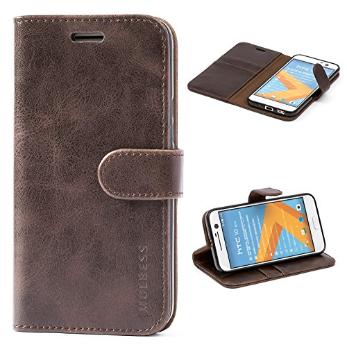 Mulbess Handyhülle für HTC 10 Hülle, Leder Flip Case Schutzhülle für HTC 10 Tasche, Vintage Braun