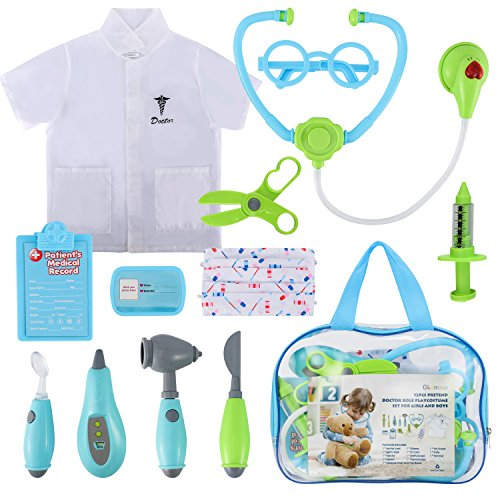 Image of Glonova Toddler Doctor Kit for Kids, 12 Pcs Dotor Pretend Play Toys with Roleplay Doctor Play Set Costume, Dress up Doctor Accessories, and Carry Bag