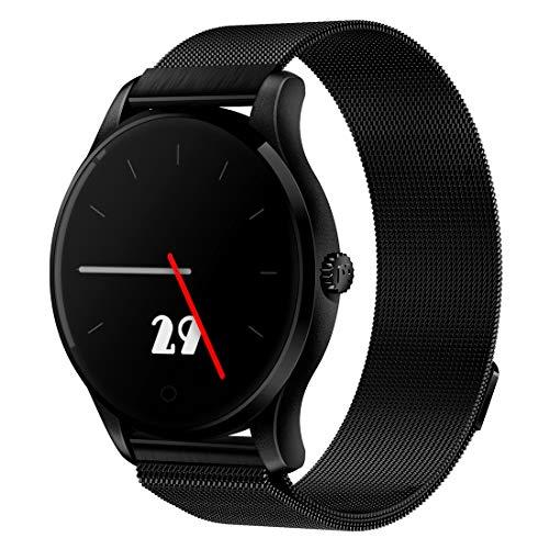 LIJDD Support-Schrittzähler/Echtzeit-Endur/Wechat-Erinnerung, IP54-Regenmantel, K88 1,22-Zoll-Bildschirm-Anzeige Bluetooth-Overbold-Uhr (Color : Black)