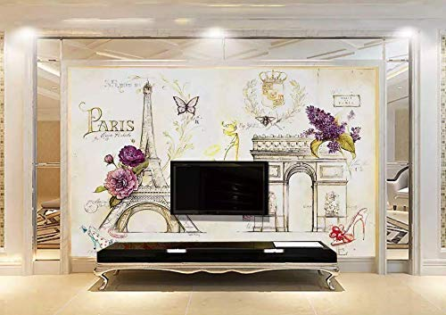 Amazon Com Murwall City Wallpaper Eiffel Tower Wall Mural Colorful Paris Drawing Wall Art Vintage Home Decor Young Room Living Room Handmade Products