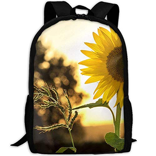 TTmom Schulrucksack,Schüler Bag,Rucksack Damen Herren Sunflower Sun Summer Yellow Print Custom Casual School Bag Backpack Multipurpose Travel Daypack