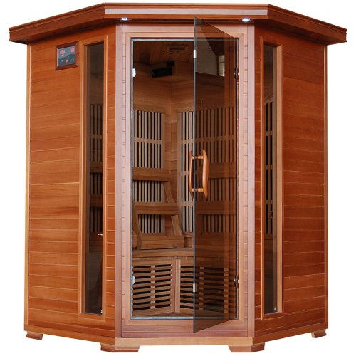 Radiant Saunas BSA1312 3-Person Cedar Corner Infrared Sauna w/ 7 Carbon Heaters
