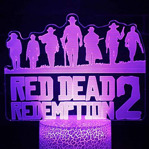 jiwenhua Luz nocturna 3D Serie Juego Led Colorido Táctil Lámpara de mesa, 129, Control Remoto Táctil 16 Colores